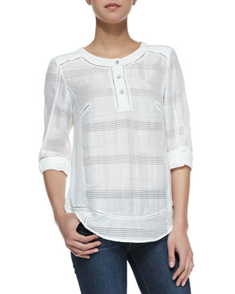 Tess 3/4-Sleeve Blouse, White