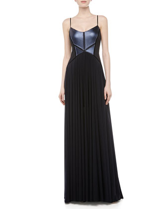 Royal Leather Corset Gown, Midnight Navy