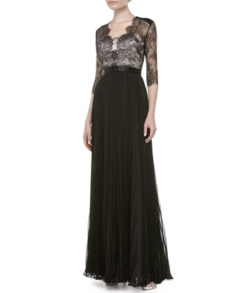 Rose Lace Pleated Gown, Black