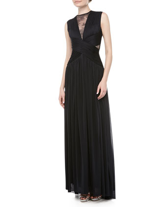 Rossa Lace Crisscross Gown, Navy