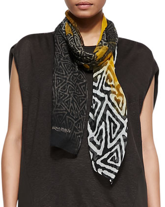 Multi-Print Sound Scarf & Udito Sheer-Hemp V-Neck Blouse & Rigore Linen ...