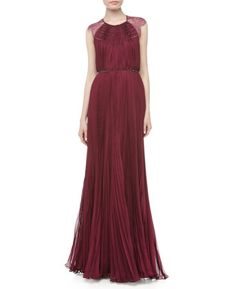 Patsy Lace Pleated Gown, Magenta