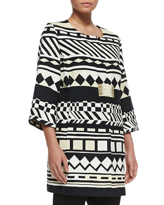 Cecina Geometric-Print 3/4-Sleeve Jacket, Zambrone Pleated A-line Top & ...