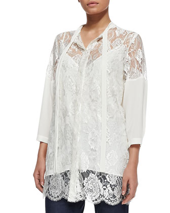 Silk Lace Tie-Neck Jacket, Women's