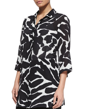 Silk Animal-Print 3/4-Sleeve Tunic, Lobelia Long Beaded Necklace & Restante ...