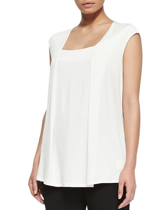 Zambrone Pleated A-line Top, Ivory, Women's