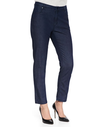 High-Waist Slim Jeans, Navy, Women's