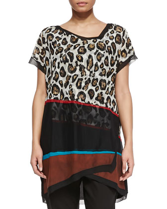 Versetto Leopard-Print Short-Sleeve Top & Romolo Black Skinny Pants, Women's