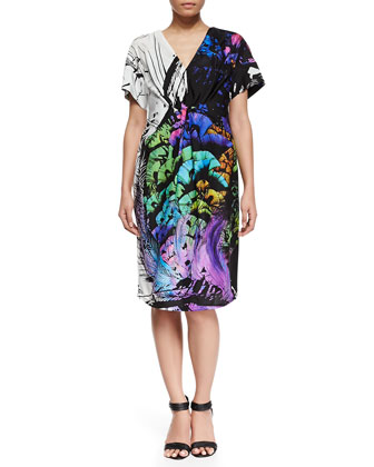 Eiffel Printed Short-Sleeve Dress