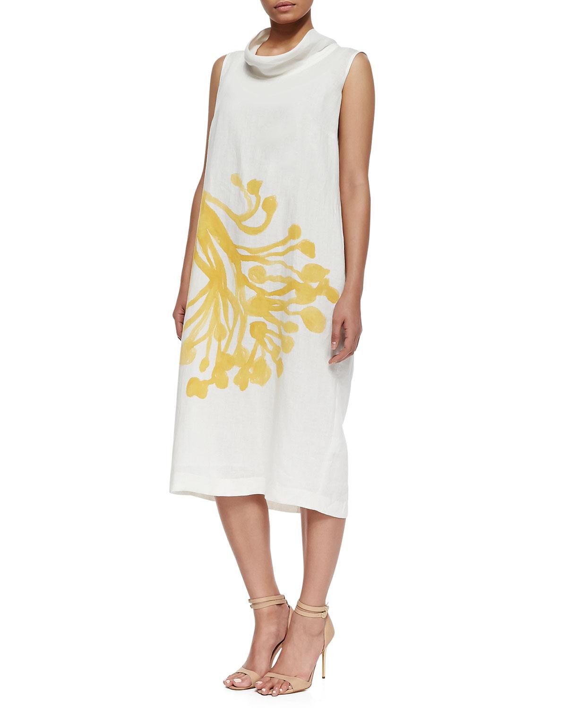 Dorare Linen Flower Print Dress, Womens   Marina Rinaldi   White (14W)