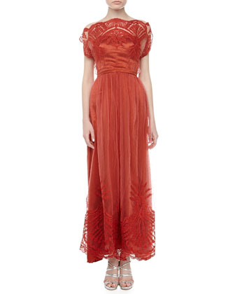 Philippa Silk Lace Gown, Burnt Sienna