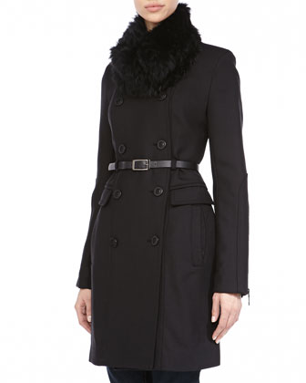 Double-Breasted Fur-Collar Coat