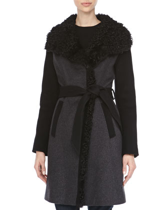 Asymmetric Curly Fur Collar Coat
