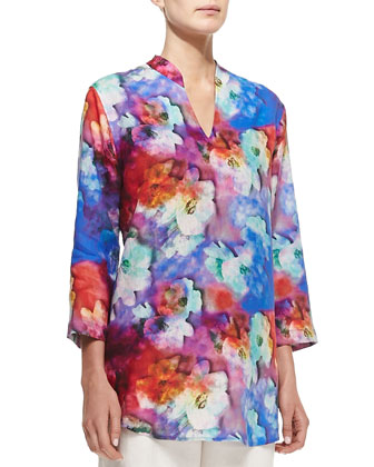 Floral Watercolors Linen Tunic