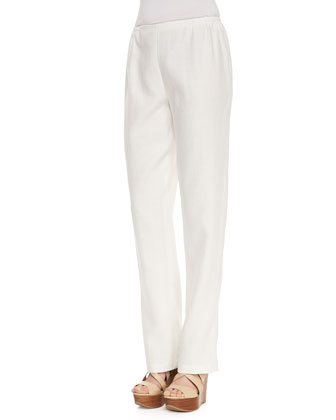 Linen Straight-Leg Pants, White