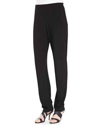 Stretch-Knit Slim Pants, Black