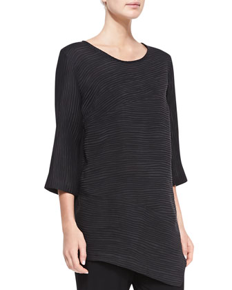 Rib-Wave Easy Tunic, Black