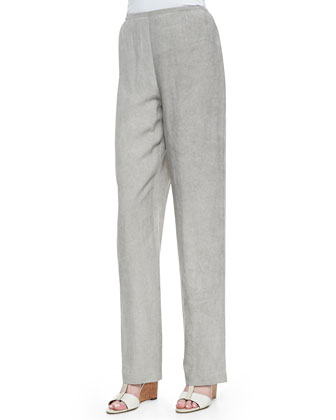 Rib-Wave Easy Shirt & Tumbled Straight-Leg Pants, Women's