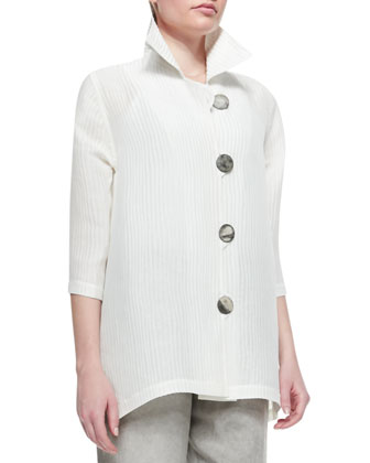 Rib-Wave Easy Shirt, White