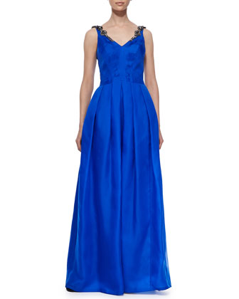 Beaded Sleeveless Pleated Ball Gown, Cobalt