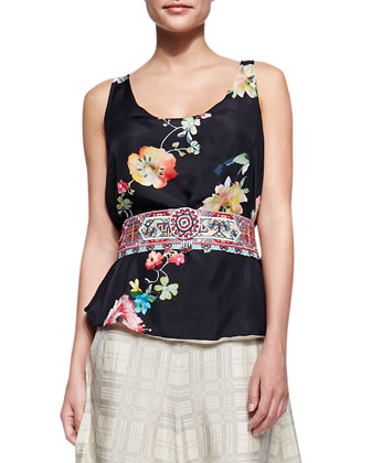 Floral-Print Reversible Tank, Sangria Obi Belt & Plaid Georgette Maxi Skirt