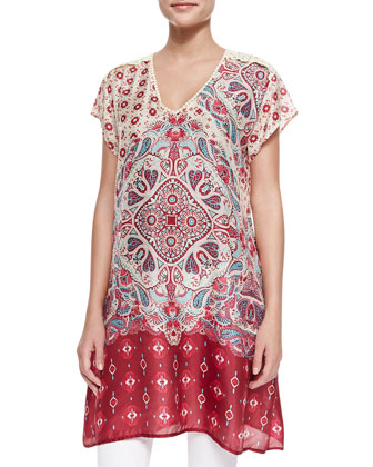 Hollow V-Neck Silk Printed Tunic, Women's