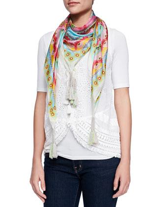 Floral Tassel Vest & Teally Print Silk Scarf