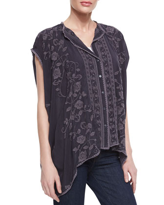 Boxy Floral-Print Cover Up, Grey Onyx