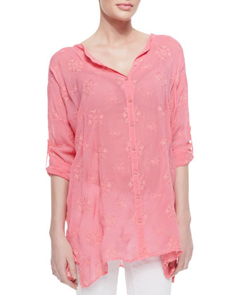 Oversized Embroidered Basic Blouse, Women's