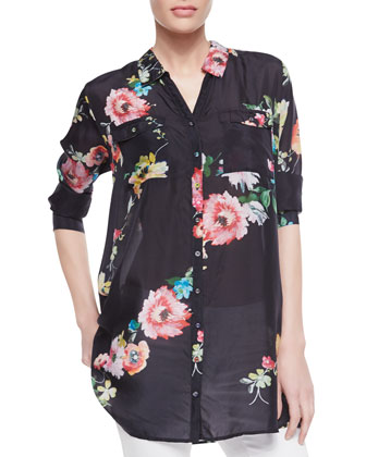 Silk Floral-Print Patch-Pocket Shirt, Women's