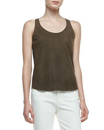 Isaac Perforated Lambskin Tank Top