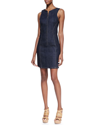 Brayla D Terni Front-Zip Denim Sheath Dress, Raw Blue