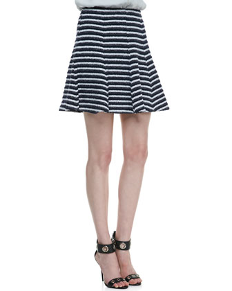 Olava Double-Georgette Blouse & Lyerly Flared Striped Knit Skirt
