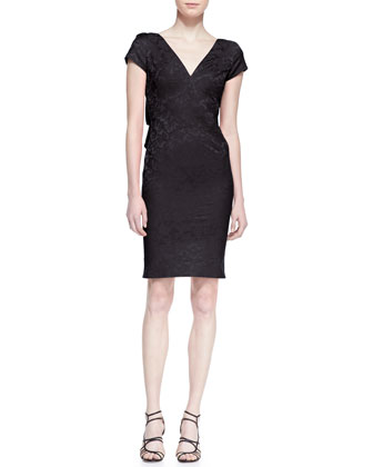 Short Sleeve Jacquard Sheath Dress, Black