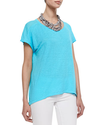 Organic Linen Jersey Cap-Sleeve Top