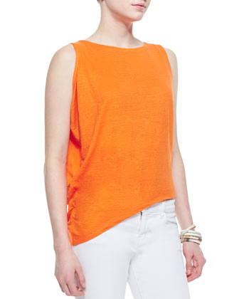 Organic Linen Asymmetric Sleeveless Top & Stretch Boyfriend Jeans, Petite