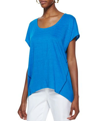 Organic Linen Short-Sleeve Box Top, Petite