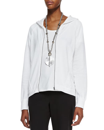Organic-Cotton Hooded-Wedge Cardigan, Organic-Cotton Stretch Tee & Organic ...