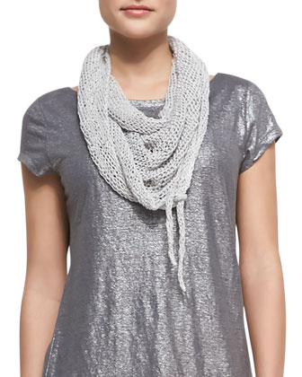 Shimmer Cap-Sleeve Top, Faux-Wrap Jersey Skirt & Hand-Knit Cord Scarf