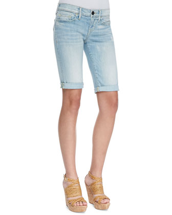 Savannah Breezy Meadow Light-Wash Cuffed Shorts