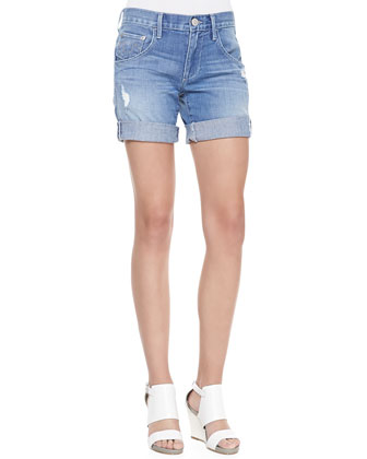 Miles Distressed Cuffed Jeans Shorts, White Gardenia