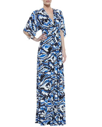 Digital-Print Long Caftan Dress, Women's