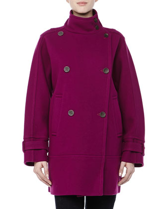 Tori Double-Breasted Pea Coat, Fuchsia