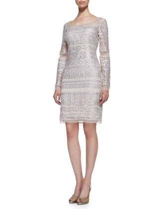 Long-Sleeve Lace Cocktail Dress, Platinum