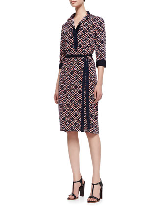 Print Lux-Jersey Knee-Length Shirtdress, Women's