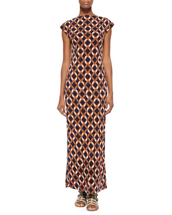 Link-Print Bateau-Neck Long Dress