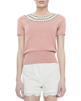 Daisy Embellished-Neck Sweater & Bruna Lacy Shorts