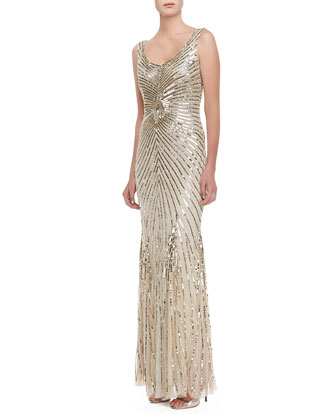 Sleeveless Deco Bead & Sequin Gown, Champagne