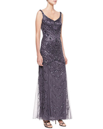 Sleeveless Deco Beaded Gown, Gunmetal