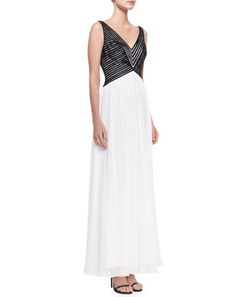 Sleeveless V-Neck Combo Gown, Black/White